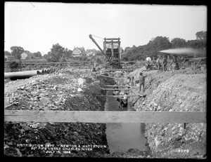 Distribution Department, Southern High Service Pipe Line, Section 24, 20-inch pipe under Charles River, Newton; Watertown, Mass., Jul. 15, 1898