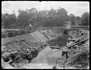 Distribution Department, Southern High Service Pipe Line, Section 24, 20-inch pipe under Charles River, Newton; Watertown, Mass., Aug. 20, 1898