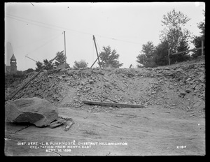Distribution Department, Chestnut Hill Low Service Pumping Station, excavation, from the northeast, Brighton, Mass., Sep. 16, 1898