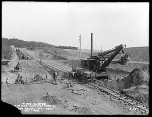 Wachusett Reservoir, North Dike, easterly portion, excavation at station 10+00, by means of steam shovel and cars; from the northwest, Clinton, Mass., Oct. 1, 1898