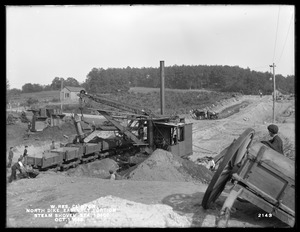 Wachusett Reservoir, North Dike, easterly portion, excavation at station 10+00, by means of steam shovel and cars; from the southwest, Clinton, Mass., Oct. 1, 1898