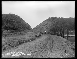 Wachusett Reservoir, soil stripping railway, cut at station 43+00; from the northeast on embankment in Sandy Pond, Clinton, Mass., Oct. 1, 1898