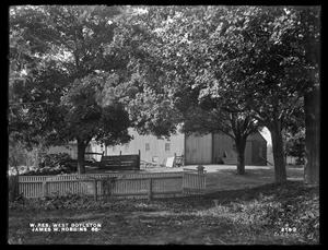 Wachusett Reservoir, James W. Robbins' barns, on the westerly side of Fairbank Street, from the southeast, West Boylston, Mass., Sep. 28, 1898