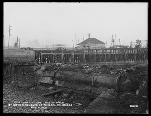 Distribution Department, Low Service Pipe Lines, 16-inch siphon removed at Chelsea North Bridge, Mystic River; Charlestown; Chelsea, Mass., Nov. 6, 1900