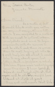 Sacco-Vanzetti Case Records, 1920-1928. Correspondence. Bartolomeo Vanzetti to Irene Benton, n.d. Box 39, Folder 29, Harvard Law School Library, Historical & Special Collections
