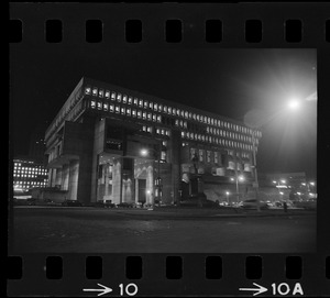 All lit up last night and ready for a week's celebration is the new City Hall located in the Government Center