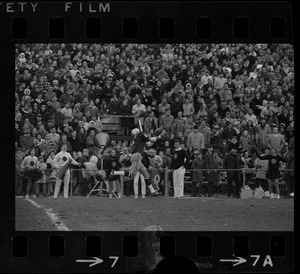 Barry Gallup (87) leaps to take touchdown pass thrown by Fred Willis for 1st Boston College touchdown
