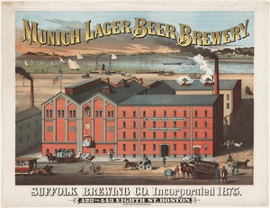 Munich lager beer brewery. Suffolk Brewing Co., Incorporated 1875, 423 to 443 Eight St, Boston