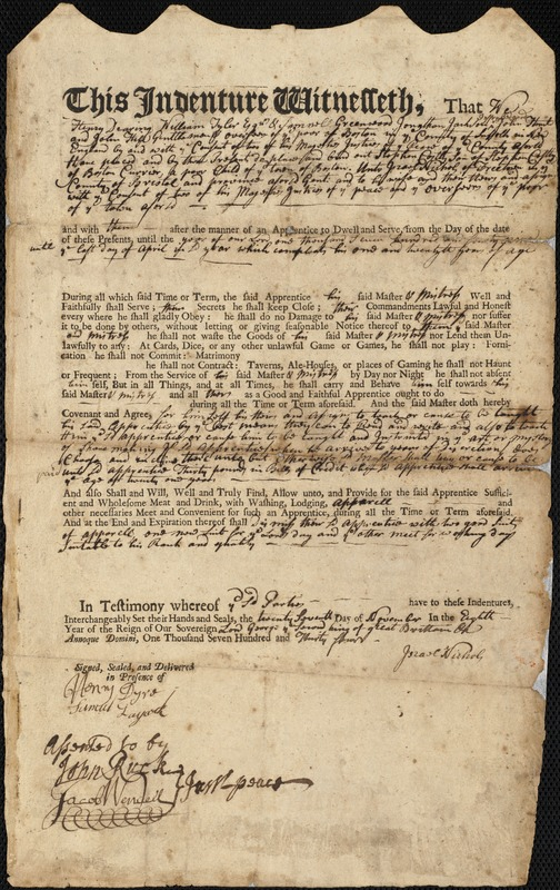 Document of indenture: Servant: Cortly, Stephen. Master: Nichols, Israel. Town of Master: Freetown. Two lists of person and beds in the alms house.