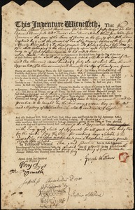 Document of indenture: Servant: Dean, John. Master: Williams, Joseph: Town of Master: Roxbury