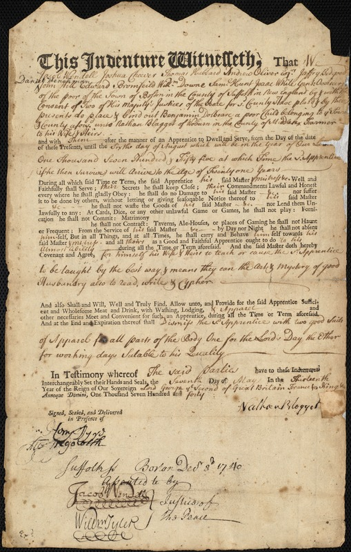 Document of indenture: Servant: Dolbeare, Benjamin. Master: Blagget, Nathan. Town of Master: Woburn. List of sundrys in the alms house taken.