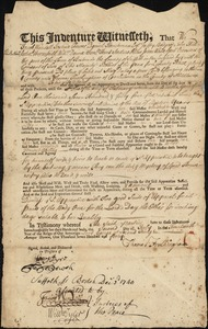 Document of indenture: Servant: Dalley, Mary. Master: Frothingham, Thomas. Town of Master: Charlestown