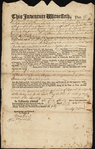 Document of indenture: Servant: Gould, Sarah. Master: Tilston, Timothy. Town of Master: Dorchester