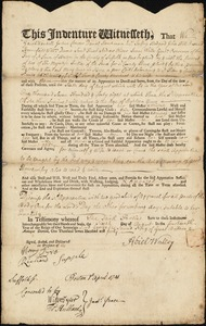 Document of indenture: Servant: LePierre, Mary Anne. Master: Walley, Abiel. Town of Master: Boston