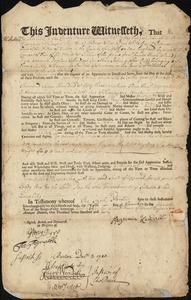 Document of indenture: Servant: Stokes, Jonathan. Master: Kendall, Benjamin. Town of Master: Sherburn