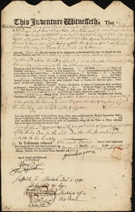 Document of indenture: Servant: Waters, Samuel. Master: Clark, Jonathan. Town of Master: Braintree