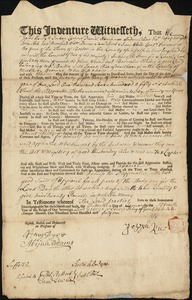 Document of indenture: Servant: Rhodes, Barnabas. Master: Rice, Joseph. Town of Master: Marlborough
