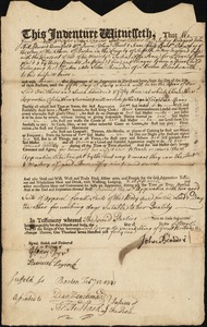 Document of indenture: Servant: Green, Eleanor. Master: Beaudri, John. Town of Master: Boston
