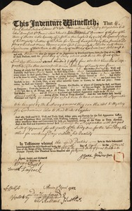 Document of indenture: Servant: Barnes, Moses. Master: Saunderson [Sanderson], Isaac. Town of Master: Watertown