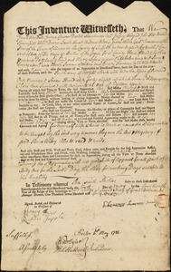 Document of indenture: Servant: Sossen, Mary. Master: Sumner, Ebenezer. Town of Master: Milton