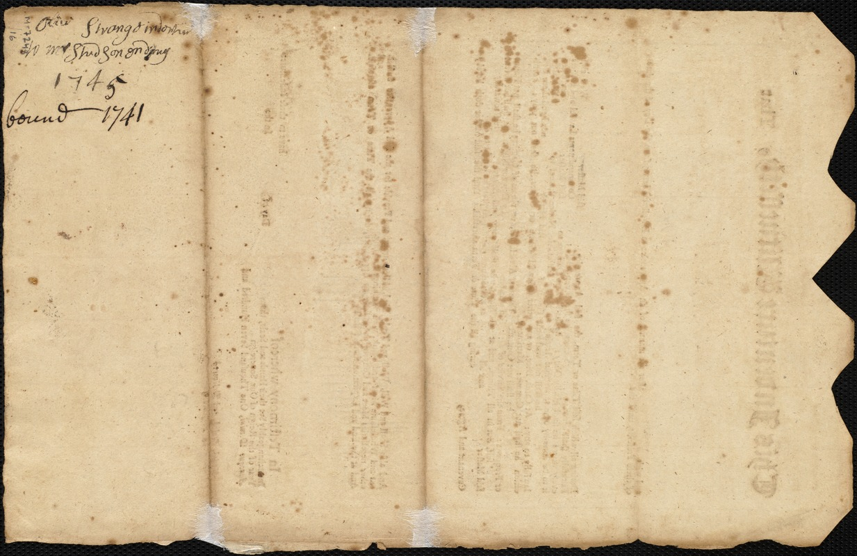 Document of indenture: Servant: Sturges, Olive. Master: Stetson, James. Town of Master: Hingham