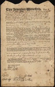 Document of indenture: Servant: Lawson, Rachel. Master: Edsar, Thomas. Town of Master: Hopkinton
