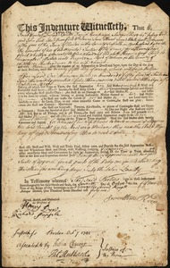 Document of indenture: Servant: Hayes, Elizabeth. Master: Reed, Sweethen. Town of Master: Woburn