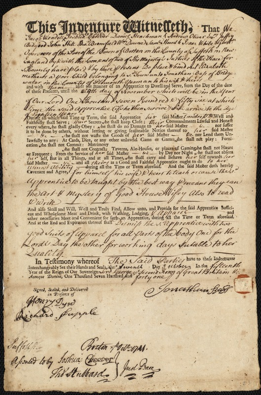 Document of indenture: Servant: Mathews, Elizabeth. Master: Bass, Jonathan. Town of Master: Bridgewater