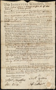 Document of indenture: Servant: Culliver, Samuel. Master: Russell, Thomas. Town of Master: Boston
