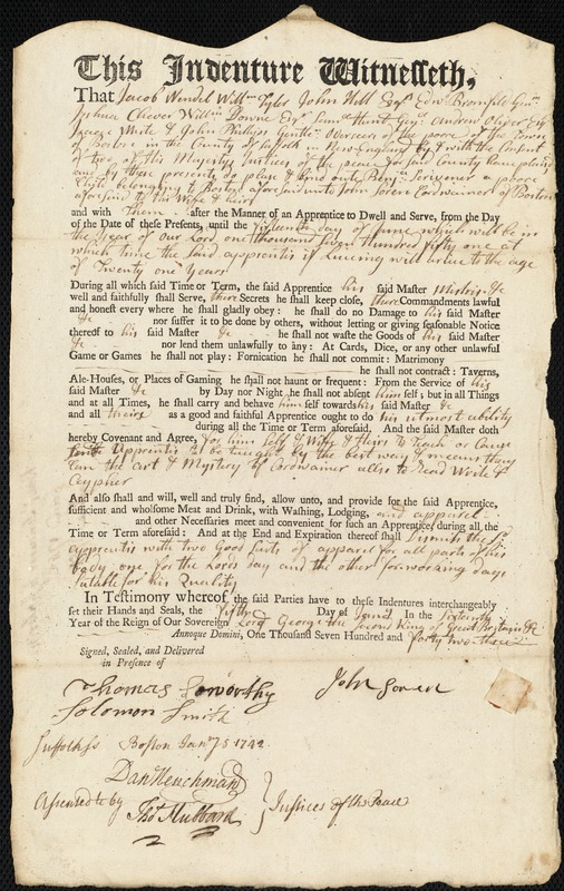 Document of indenture: Servant: Scrivener, Benjamin. Master: Soren, John. Town of Master: Boston
