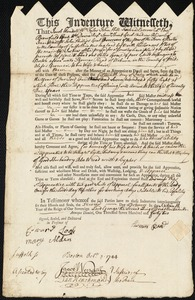 Document of indenture: Servant: Grace, Peter. Master: Reed, Thomas. Town of Master: Woburn