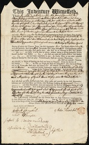 Document of indenture: Servant: Willis, Experience. Master: Hunt, John Jr. Town of Master: Boston