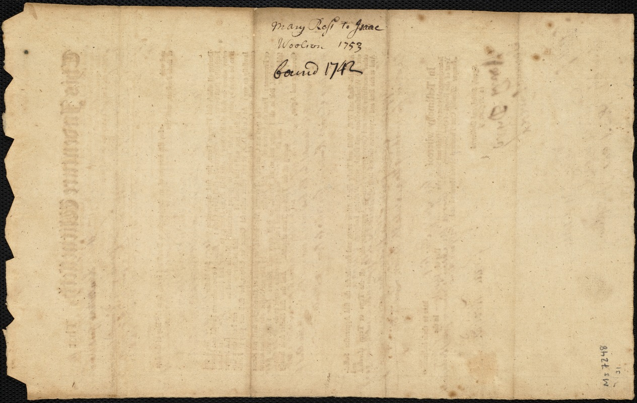 Document of indenture: Servant: Bass, Mary. Master: Woolson, Isaac. Town of Master: Weston