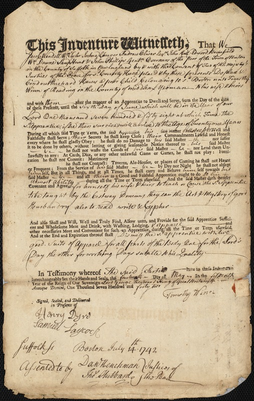 Document of indenture: Servant: Hewes, Richard. Master: Winn, Timothy. Town of Master: Reading