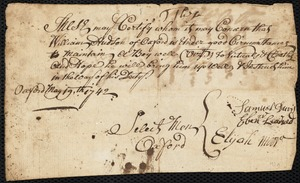Document of indenture: Servant: Cobbit, Sarah. Master: Hudson, William. Town of Master: Oxford. Selectmen of the town of Oxford autograph document signed to the Overseers of the Poor of Boston: Endorsement Certificate for William Hudson.