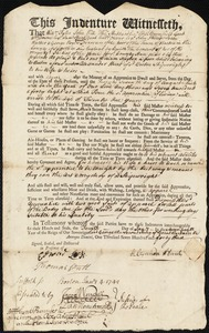 Document of indenture: Servant: Norton, William. Master: Hunt, Alexander. Town of Master: Boston