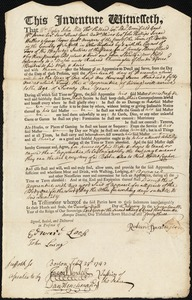 Document of indenture: Servant: Slowly, John. Master: Barrington, Richard. Town of Master: Boston