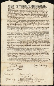 Document of indenture: Servant: Wood, Samuel. Master: Salisbury, Benjamin. Town of Master: Boston