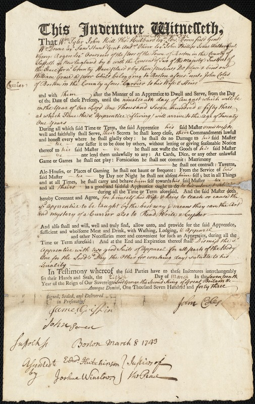 Document of indenture: Servant: Grace, William. Master: Coles, John. Town of Master: Boston