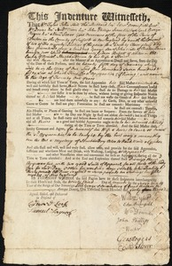 Document of indenture: Servant: Mills, George. Master: Bassett, Gideon. Town of Master: Norton