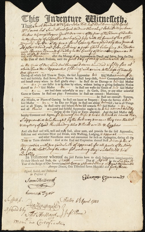 Document of indenture: Servant: Gillings, John. Master: Edmunds, Ebenezer. Town of Master: Dudley