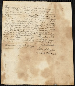 Document of indenture: Servant: Pratt, Ebenezer. Master: Dean, Stephen. Town of Master: Raynham. Selectmen of the town of Raynham autograph document signed to Whom It May Concern: Endorsement Certificate for Stephen Dean.