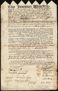 Document of indenture: Servant: Peck, Elizabeth. Master: Keith, Robert. Town of Master: Bridgewater