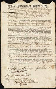 Document of indenture: Servant: Kneeland, Robert. Master: Blower, John. Town of Master: Boston
