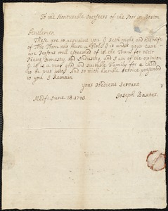 Document of indenture: Servant: Robinson, Lydia. Master: Wight, Seth. Town of Master: Medfield. Baxter, Joseph [selectman?] of the town of Medfield: Endorsement Certificate for Seth Wright.