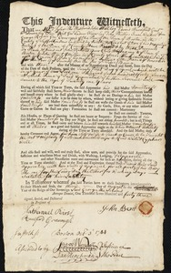 Document of indenture: Servant: Ransted, John. Master: Bent, John. Town of Master: Milton