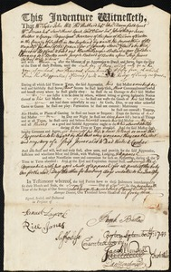 Document of indenture: Servant: Ballard, Bartholomew. Master: Ballard, Joseph. Town of Master: Boston