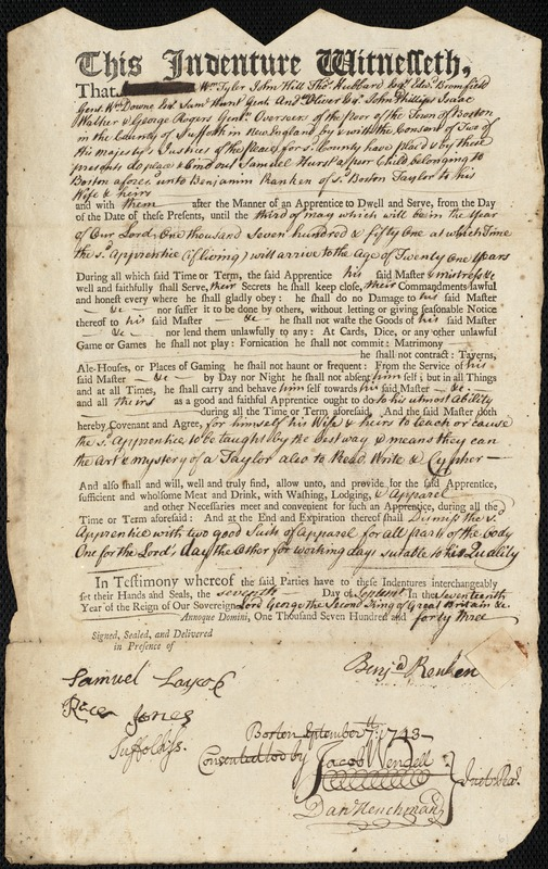 Document of indenture: Servant: Hurst, Samuel. Master: Ranken, Benjamin. Town of Master: Boston