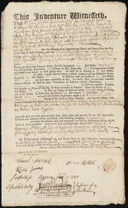 Document of indenture: Servant: Whitcomb, Richard. Master: Kettell, James. Town of Master: Medford