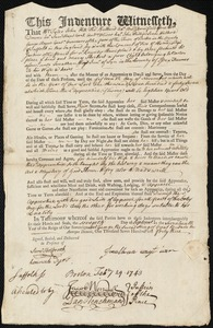 Document of indenture: Servant: Herbert, Mary. Master: Wayt, Jonathan Jr. Town of Master: Lynn